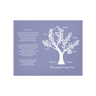 Psalm 23 Family Tree in Purple Vapor Stretched Canvas Print