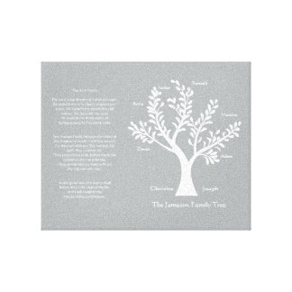 Psalm 23 Family Tree in Warm Gray Canvas Print