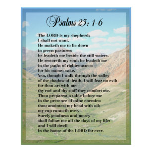picture relating to Printable 23rd Psalm identified as Psalm 23 Framable POSTER PRINT
