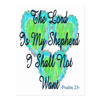 Psalm 23 hearts postcard