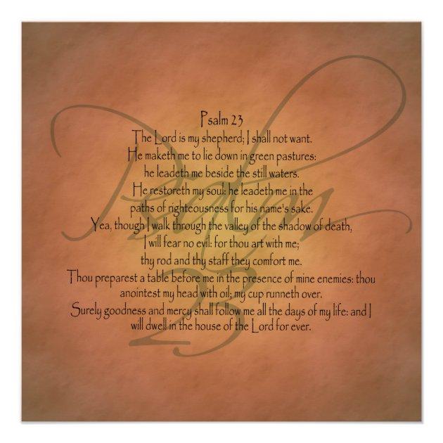 psalm 23 kjv christian bible verse poster zazzlecom