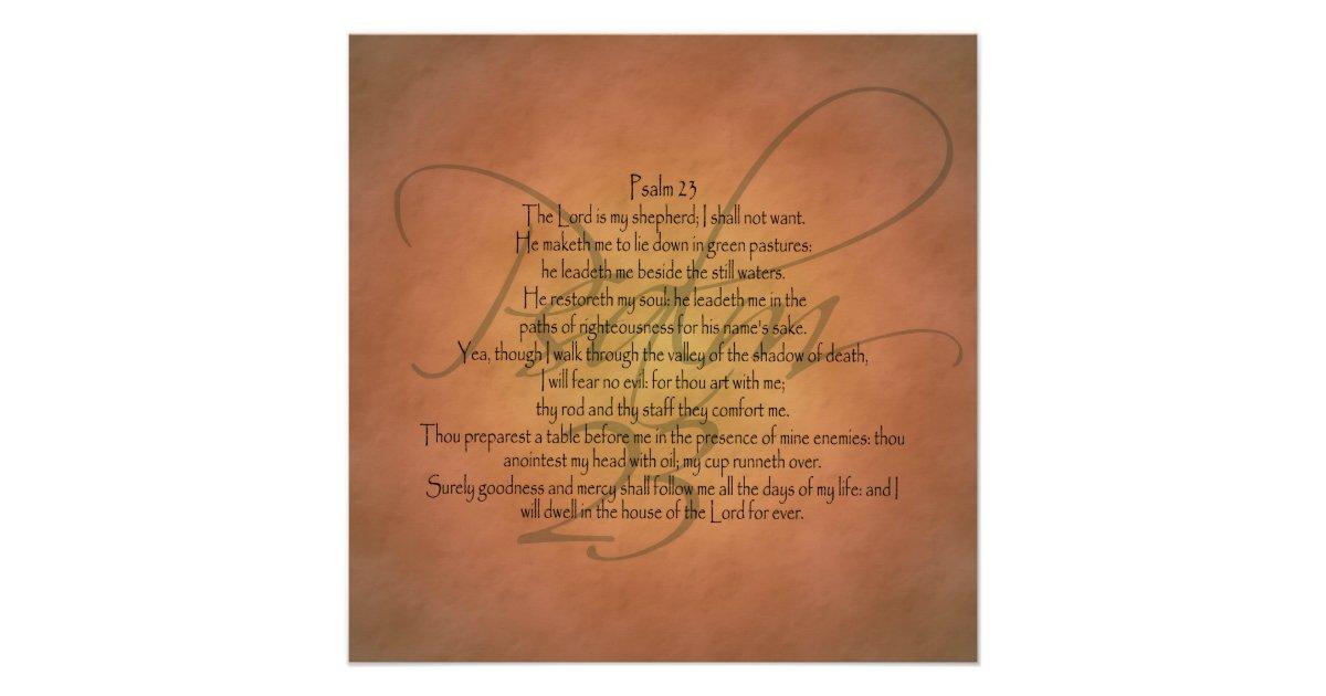 Psalm 23 Kjv Christian Bible Verse Poster Zazzle Com