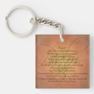 Psalm 23 KJV Christian Bible Verse Single-Sided Square Acrylic Keychain