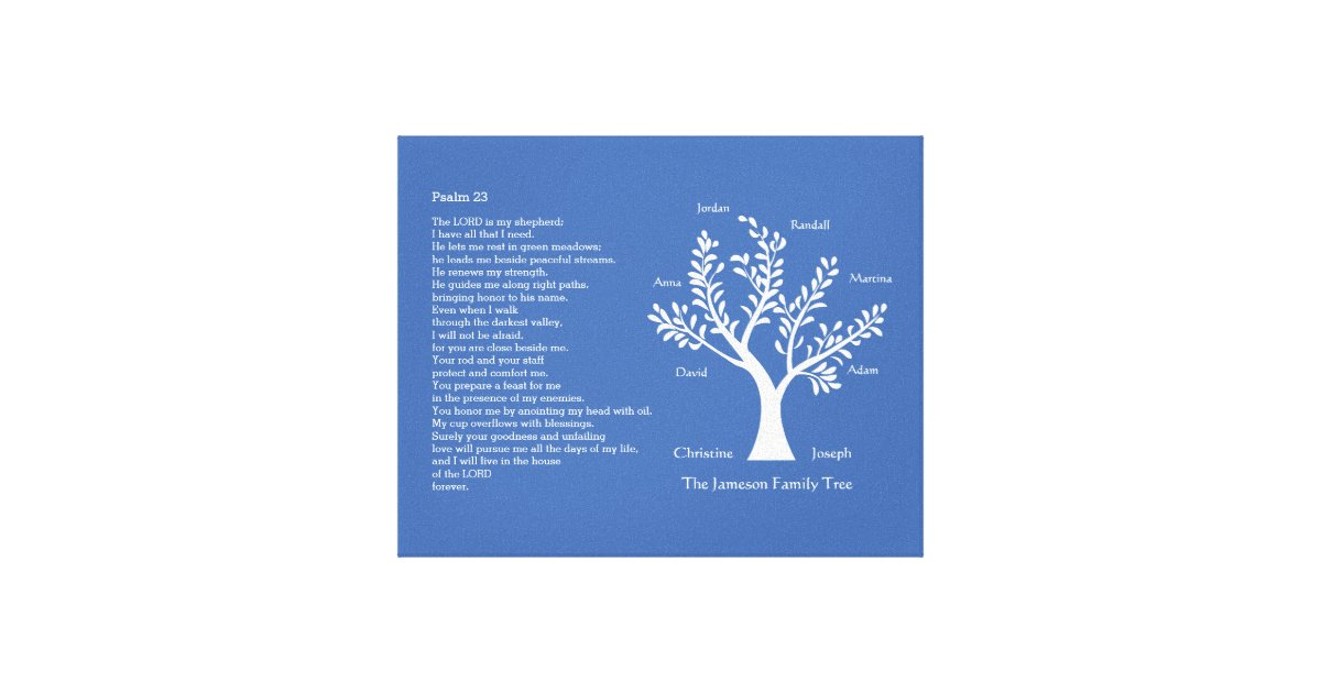 psalm 23 nlt with family tree  canvas print