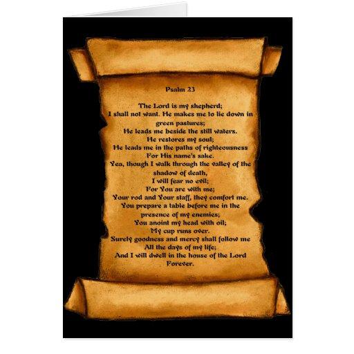 Psalm 23 on Old Scroll: Pastel Art: Sympathy Card