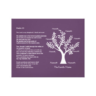 Psalm 23 plus Family Tree Stretched Canvas Prints