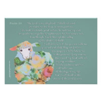 Psalm 23, sheep on green background poster