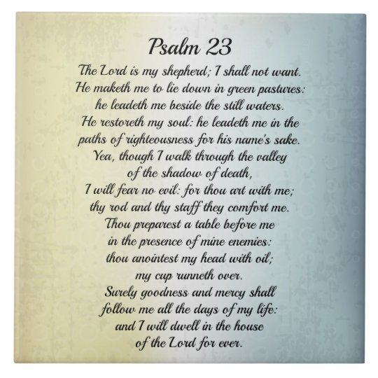 Psalm 23 The Lord Is My Shepherd Bible Verse Ceramic Tile