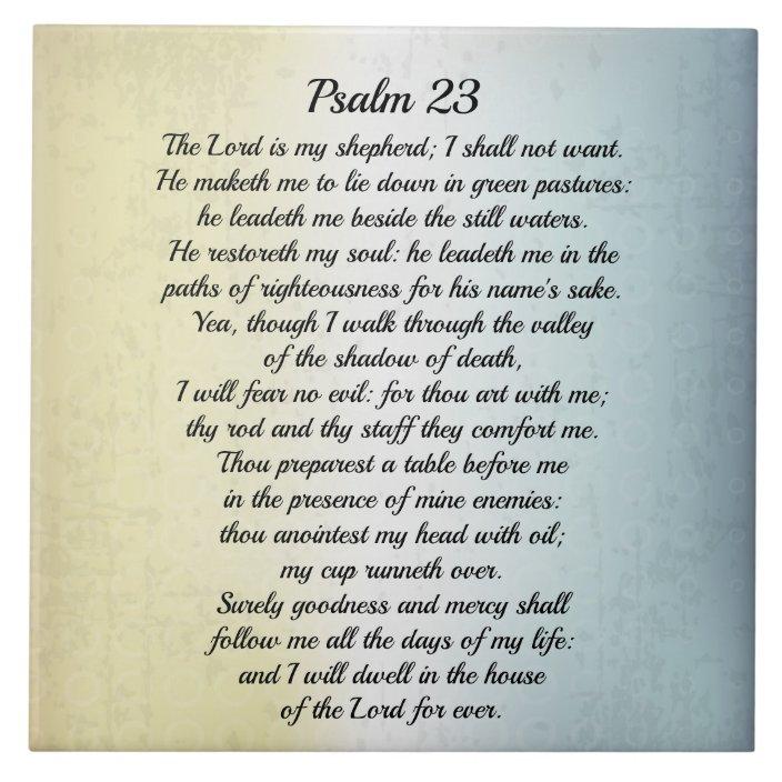 Psalm 23 The Lord Is My Shepherd Bible Verse Ceramic Tile Zazzle Com