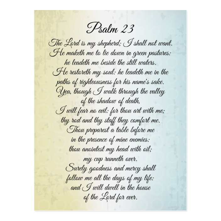 Psalm 23 The Lord Is My Shepherd Bible Verse Postcard Zazzle Com