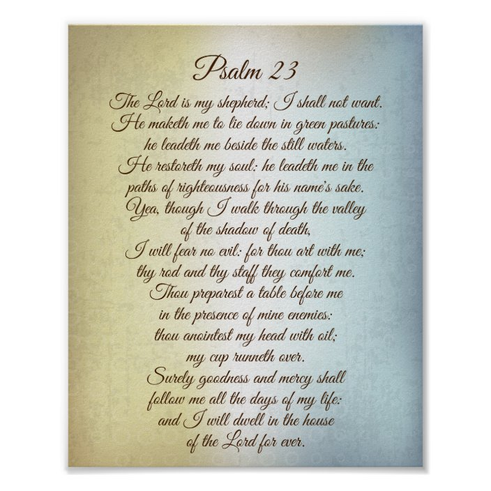 Psalm 23 The Lord Is My Shepherd Bible Verse Poster Zazzle Com