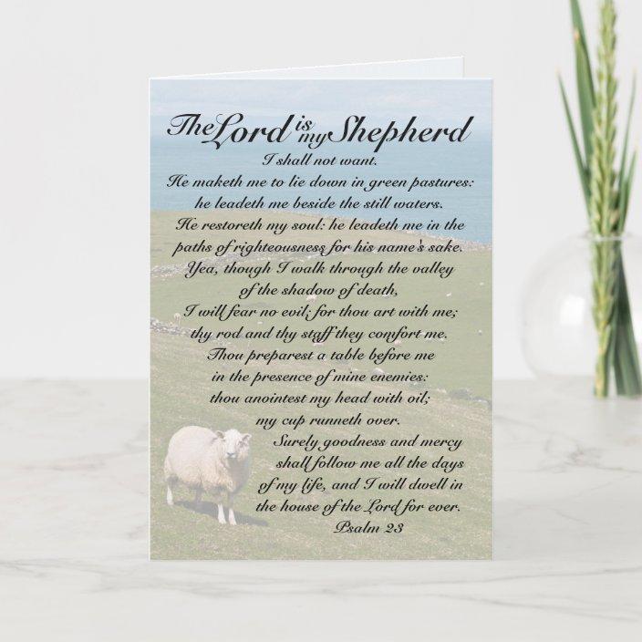 Psalm 23 The Lord Is My Shepherd Irish Sheep Field Card Zazzle Com