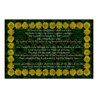 Psalm 23 with a Dandelion Frame Poster
