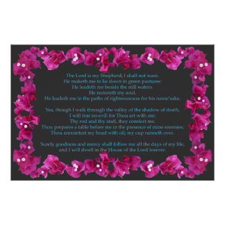 Psalm 23 with Bougainvillea Frame Poster