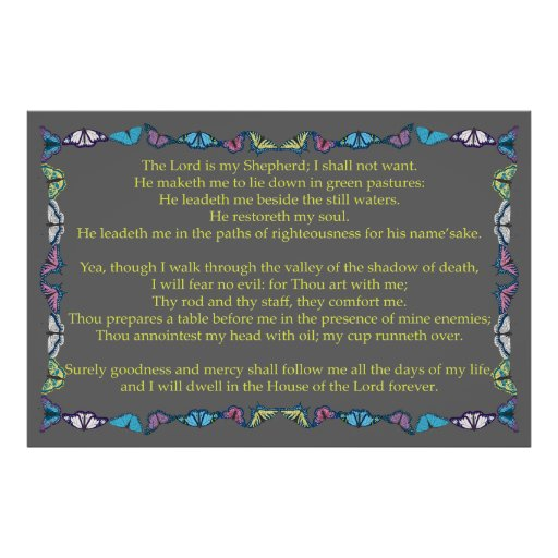 Psalm 23 with Butterfly Frame Posters