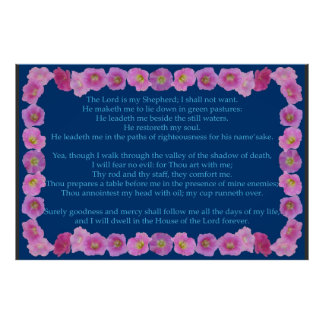 Psalm 23 with Pink Hollyhock Frame Poster