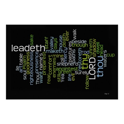 Psalm 23 Word Cloud Poster