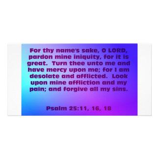 Psalm 25:11, 16, 18 card