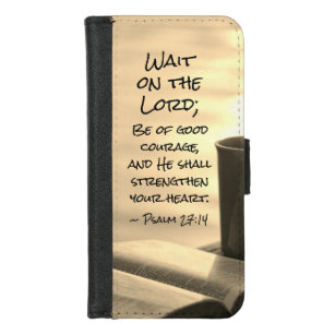 Psalm 27:14 Wait on the Lord, Bible Verse iPhone 8/7 Wallet Case