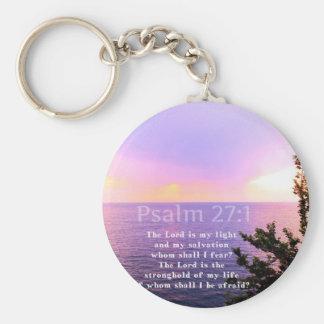 Psalm 27:1 INSPIRATIONAL BIBLE VERSE Basic Round Button Keychain