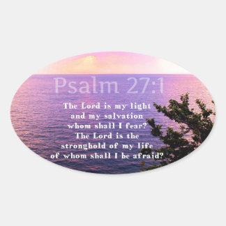 Psalm 27:1 INSPIRATIONAL BIBLE VERSE Oval Sticker