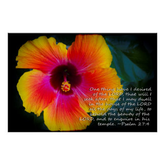 Psalm 27:4 Hibiscus on black Poster