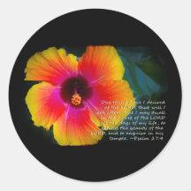 Psalm 27:4 on Black Round Sticker