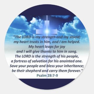 Psalm 28:7-9 classic round sticker