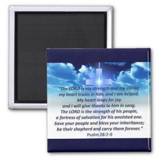 Psalm 28:7-9 refrigerator magnet