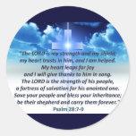 Psalm 28:7-9 round stickers
