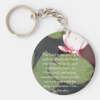 Psalm 28:7  beautiful Bible passage Basic Round Button Keychain
