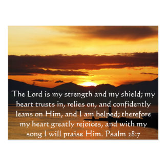 Psalm 28:7  beautiful Bible passage Postcard