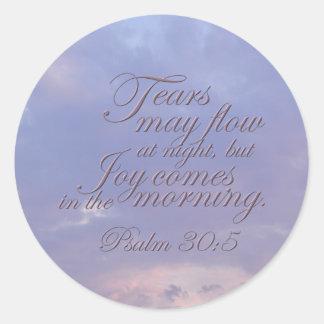 Psalm 30:5 ~ Morning Joy Classic Round Sticker