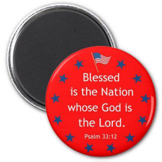 Psalm 33:12 (Patriotic) 2 Inch Round Magnet