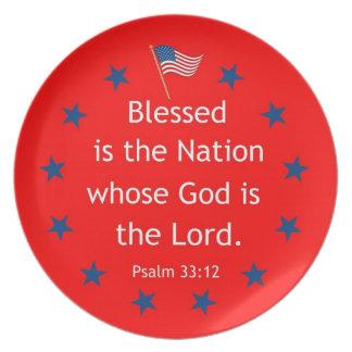 Psalm 33:12 (Patriotic) Dinner Plate