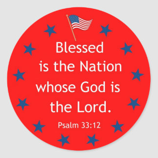 Psalm 33:12 (Patriotic) Classic Round Sticker
