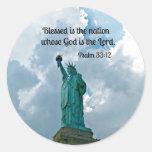 Psalm 33:12 round sticker