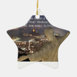 Psalm 33:13, 15 ceramic ornament