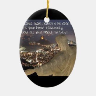 Psalm 33:13,15 ceramic ornament