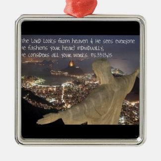 Psalm 33:13,15 metal ornament