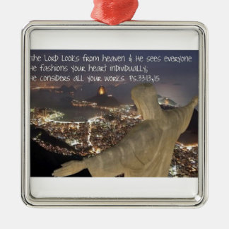 Psalm 33:13, 15 metal ornament
