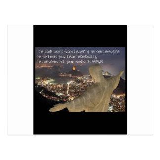 Psalm 33:13,15 postcard