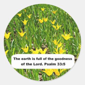 Psalm 33:5 round stickers