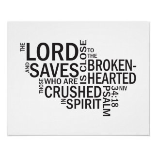 """Psalm 34:18 """"The Lord is Close"""" Subway Art Print"""