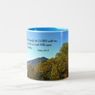 Psalm 34:3 O magnify the Lord with me... Two-Tone Coffee Mug