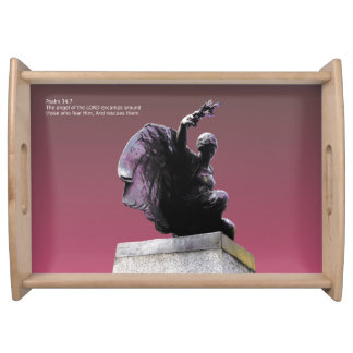 Psalm 34:7 The angel of the LORD, Large. Serving Tray