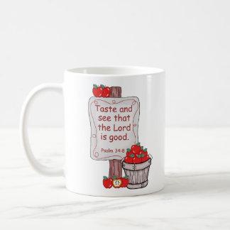 Psalm 34:8 classic white coffee mug