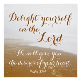 Psalm 37:4 Bible Verse, Sandy Ocean Beach Poster