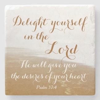 Psalm 37:4 Bible Verse, Sandy Ocean Beach Stone Coaster