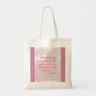 Psalm 37:4 Delight text and floral design tote bag